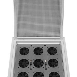 A drop ceiling grid fan tray for data center cooling