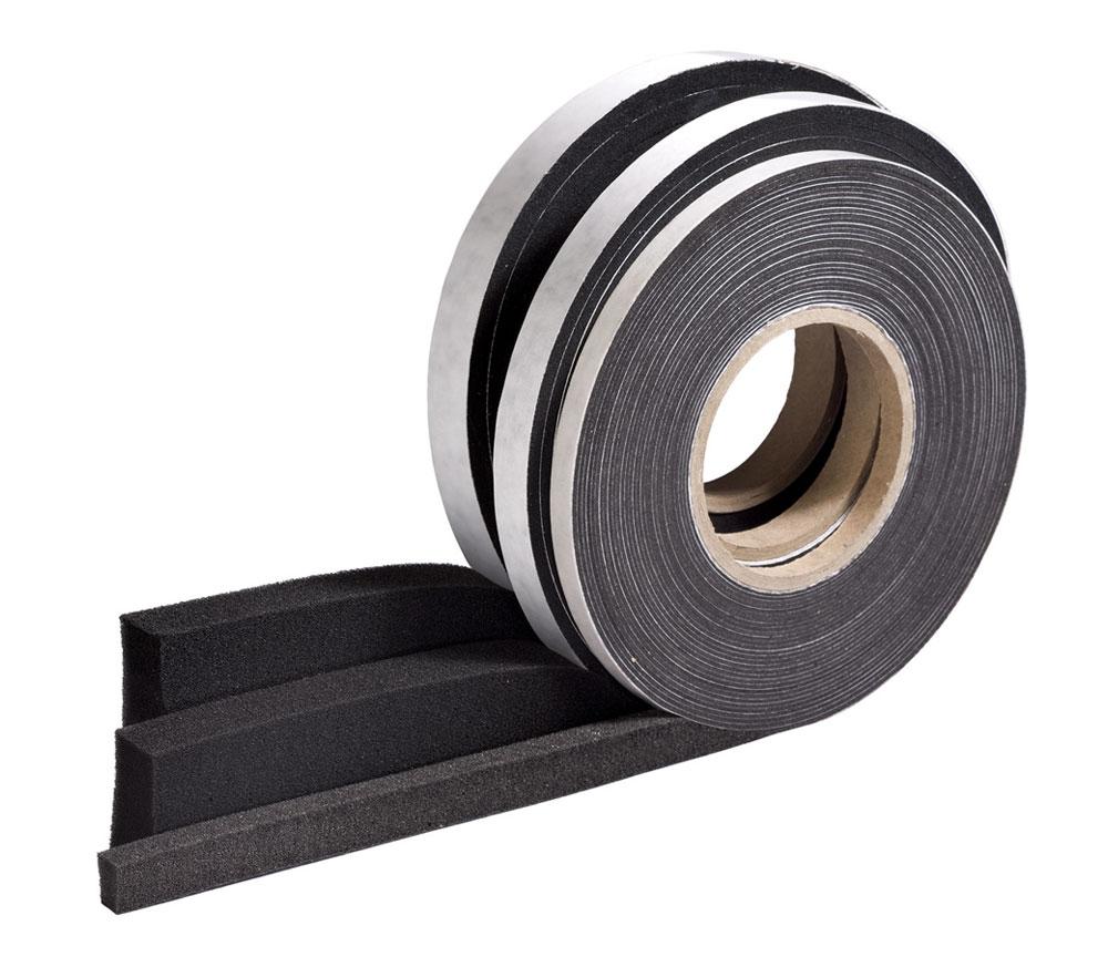 Foam gap seal tape on white background.